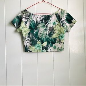 Tropical palm leaf crop top